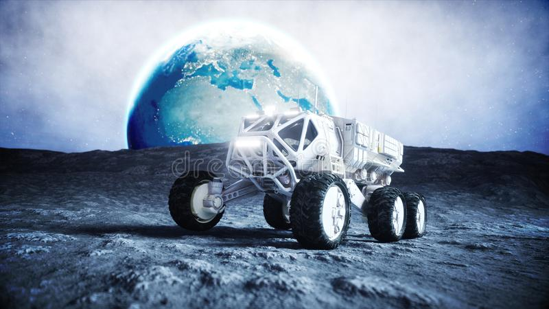 Moon rover on the moon. space expedition. Earth background. 3d rendering. stock illustration