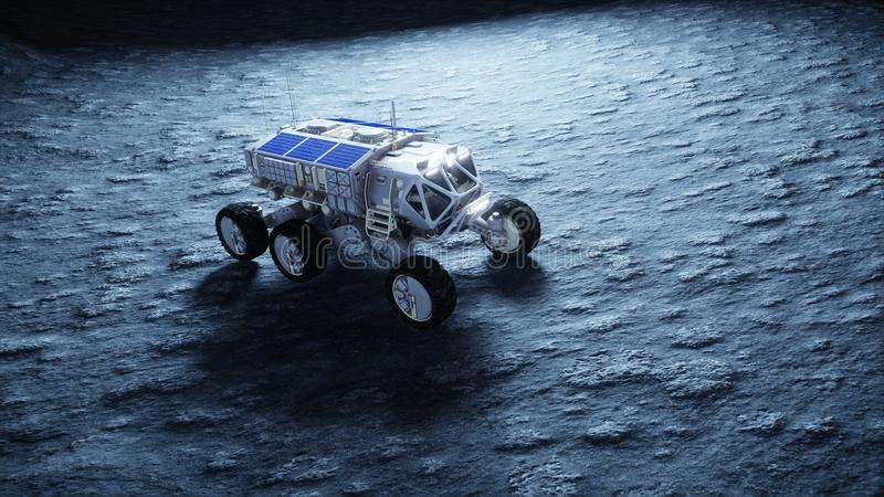 Moon rover on the moon. space expedition. Earth background. 3d rendering. vector illustration