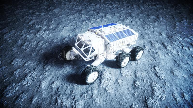 Moon rover on the moon. space expedition. Earth background. 3d rendering. stock photos