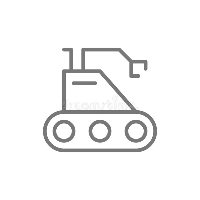 Moon rover, robot, cosmos exploration line icon. royalty free illustration