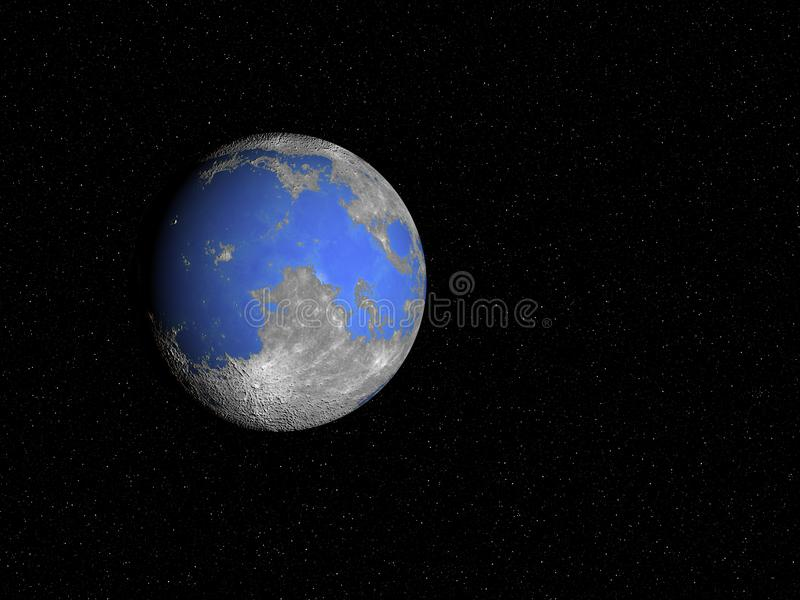 Moon`s Oceans. What our Moon would look like if it had oceans royalty free illustration