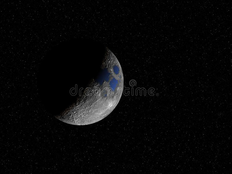 Moon`s Oceans. What our Moon would look like if it had oceans vector illustration