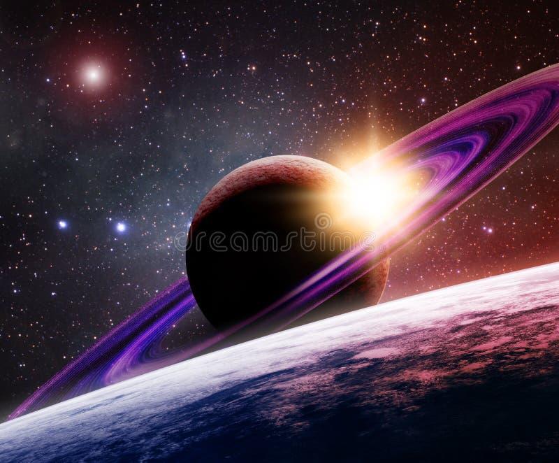 moon saturn vektor illustrationer