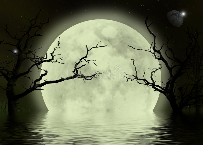 Moon scary fantasy background. A fantasy background with moon dead trees reflecting in the water royalty free illustration