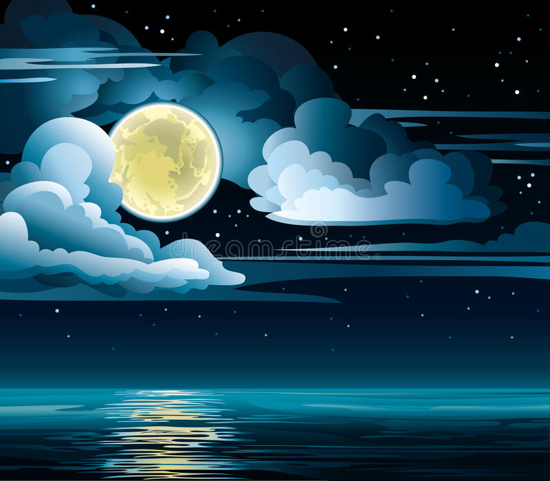 Moon and sea. Night cloudy sky with stars, yellow moon and calm sea vector illustration