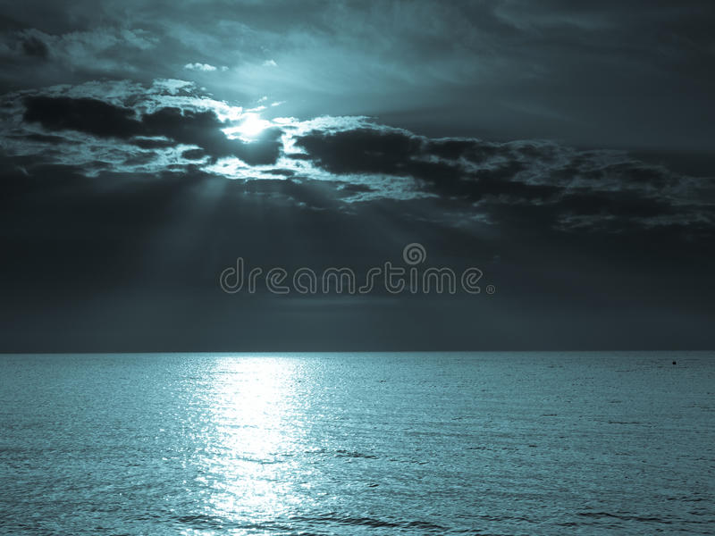 Moon on sea royalty free stock photo