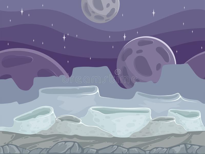 Moon seamless landscape. Rocky fantastic outdoor cartoon background with different stones ground royalty free illustration