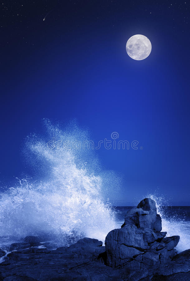 Download Moon and Seascape at night stock illustration. Image of galaxy - 23913083