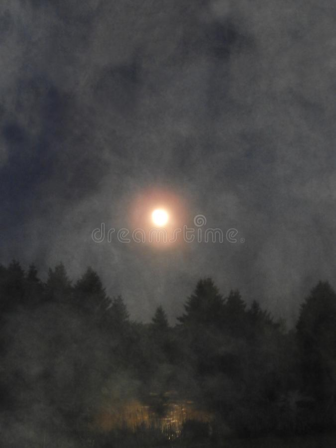 Moon reflected over fog covered country pond royalty free stock photo