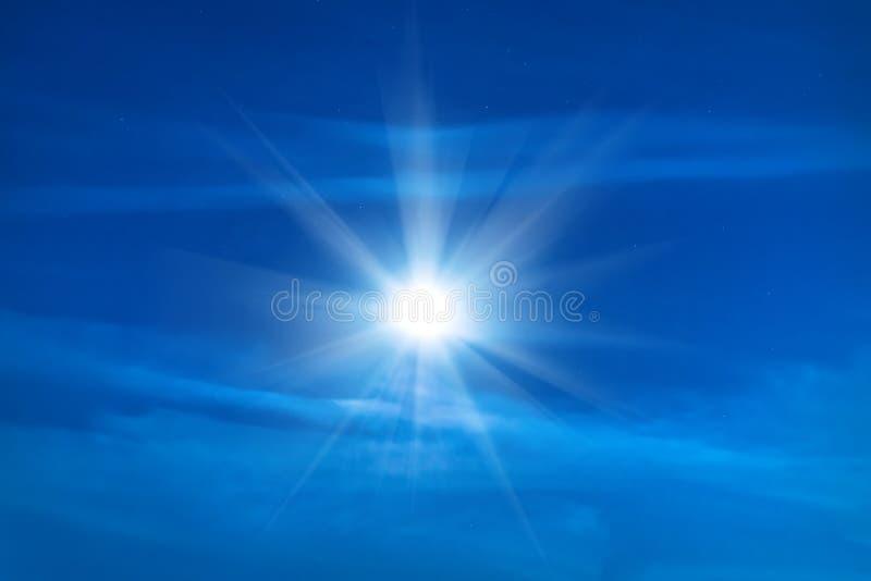 Moon shining on blue night sky. With many stars stock photos