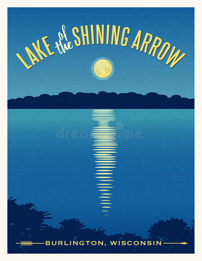 Moon shining reflection on lake travel poster vector illustration
