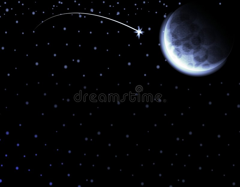 Moon Shooting Star Night Sky. An illustratin featuring a bright shooting star, crescent moon and sky full of stars for use as a background stock illustration