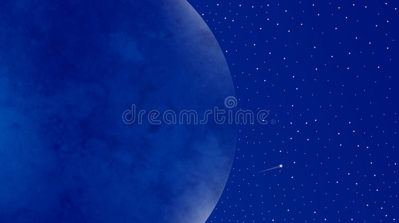 Moon by side Night Sky close up seen with beautiful shinning stars beautiful view vector illustration. Moon by side Night Sky with beautiful shinning stars vector illustration