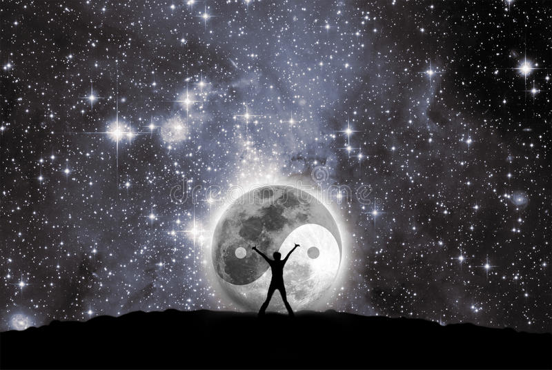 Moon with the sign of the yin and yang. Man in front of moon with the sign of the yin and yang royalty free illustration