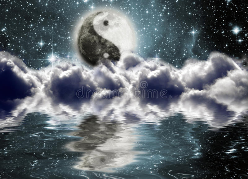 Moon with a sign of yin and yang. In the clouds vector illustration