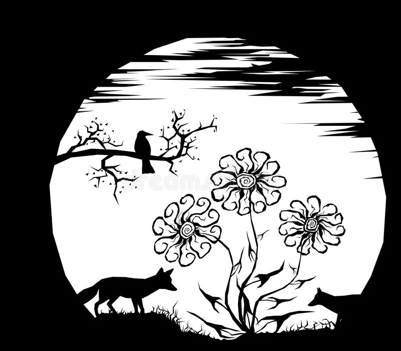 The moon and silhouettes vector illustration