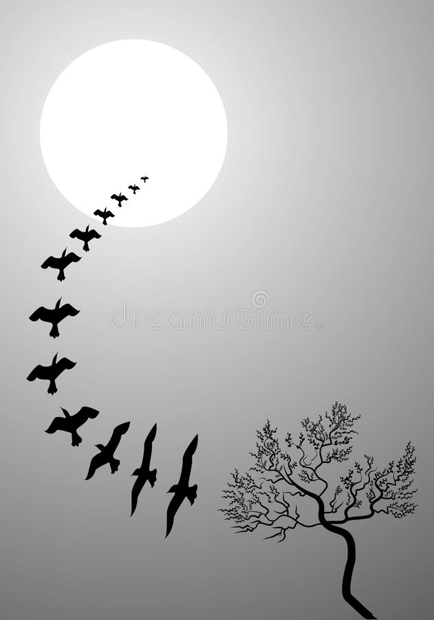Moon sky. Beautiful illustrated image of lonely tree with birds moon sky background stock illustration