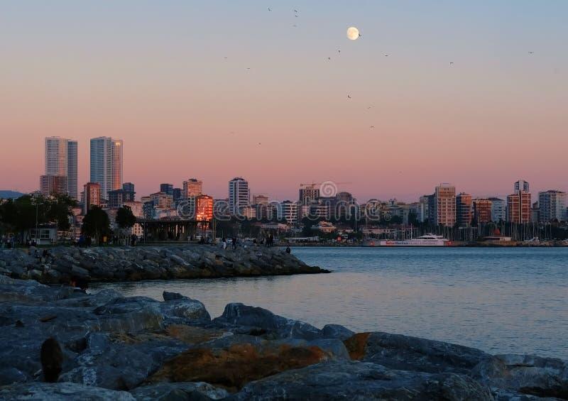 Moon in the sky, Istanbul, Turkey. stock photo
