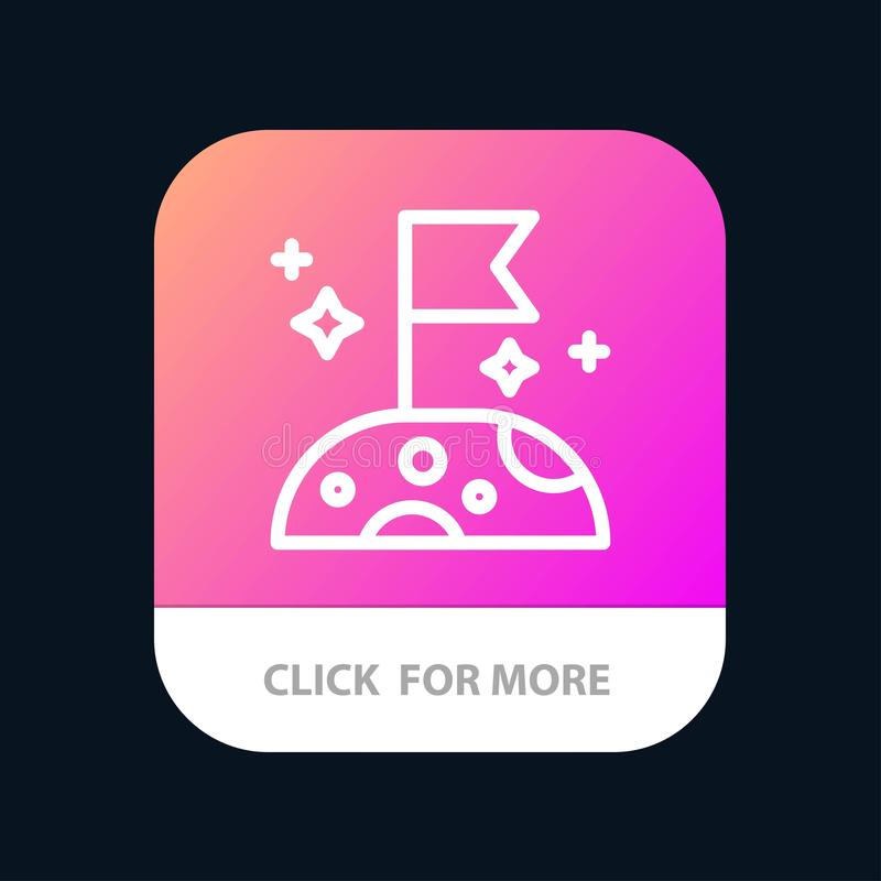 Moon, Slow, Space Mobile App Button. Android and IOS Line Version stock illustration