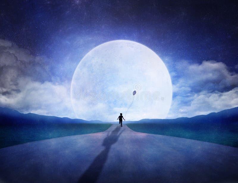 moon som kör till royaltyfri illustrationer