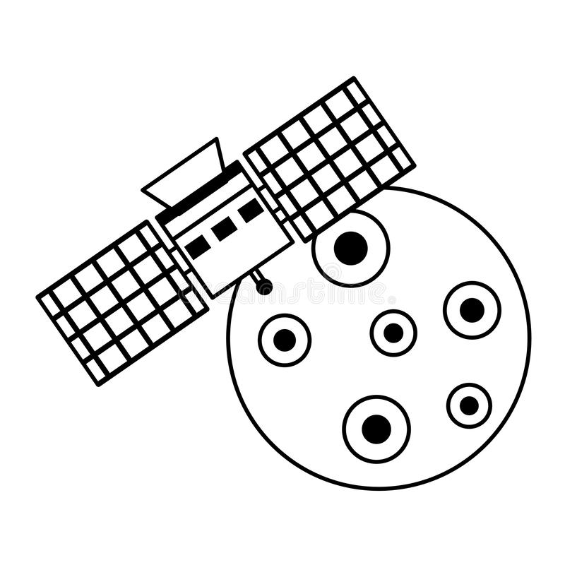 Moon and space satellite symbols isolated in black and white royalty free illustration