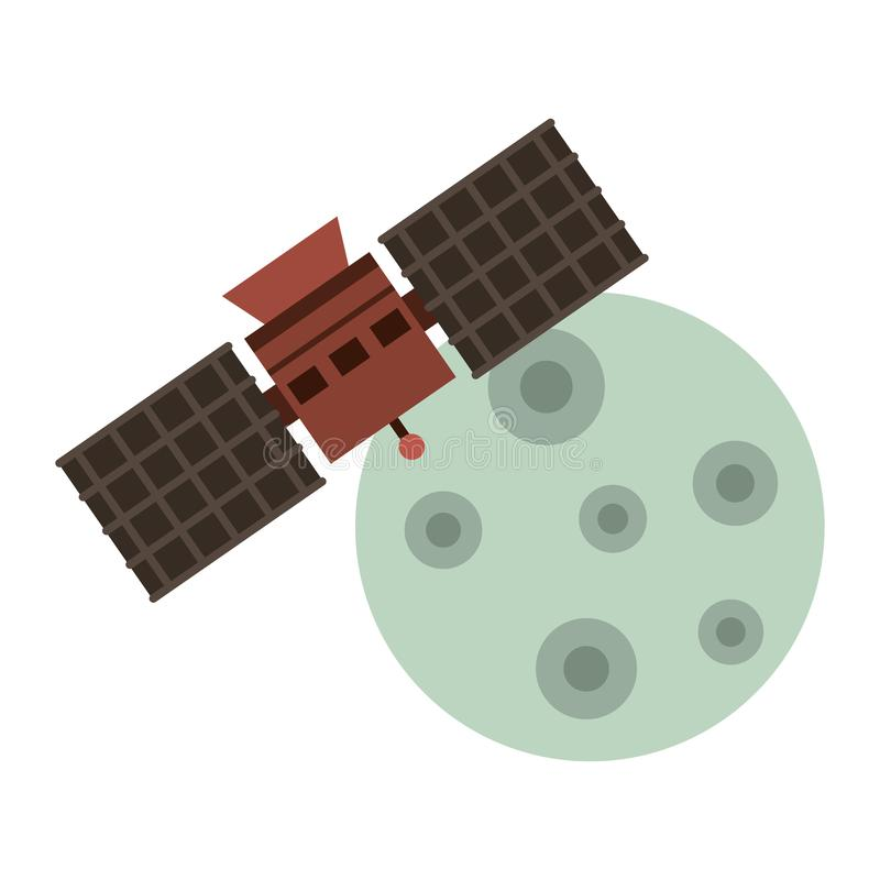 Moon and space satellite symbols isolated stock illustration