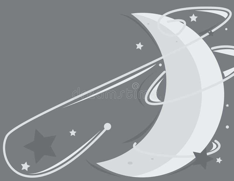Moon and star background 3. Moon and star gray and blue background stock illustration