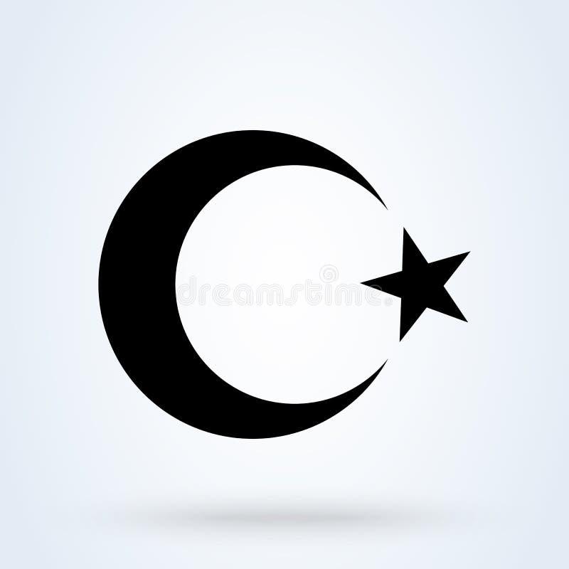 Moon and star islamic crescent Eenvoudige vector moderne illustratie van het pictogramontwerp vector illustratie