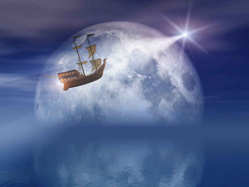 Moon And Star Light Ship Royalty Free Stock Photo