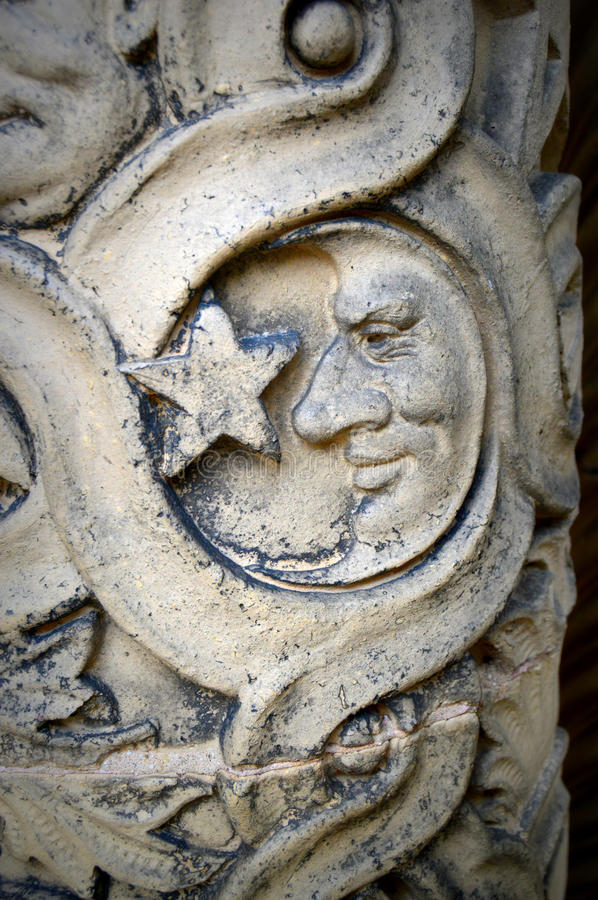 Moon and Star. Symbol carved into one of the pillars at the Yerkes Observatory, part of the University of Chicago, located in Williams Bay, Wisconsin in stock image