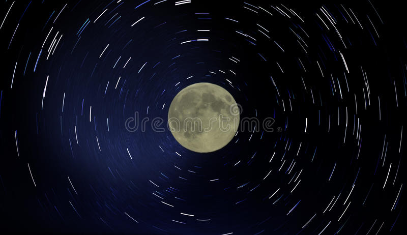 Moon and star trails. Star trails and full moon