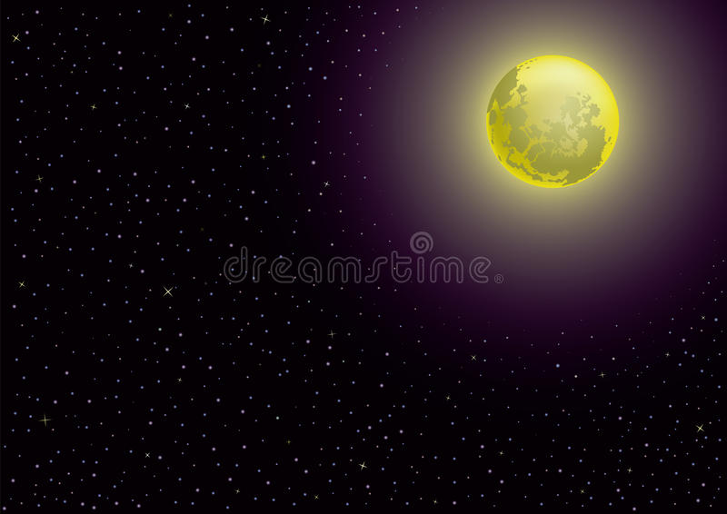 Download Moon and starry night stock illustration. Image of resting - 24095735