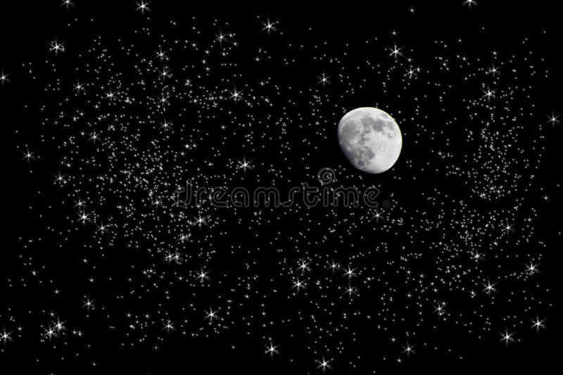 Moon in starry night sky. Scenic view of moon in starry sky at night; photo manipulation