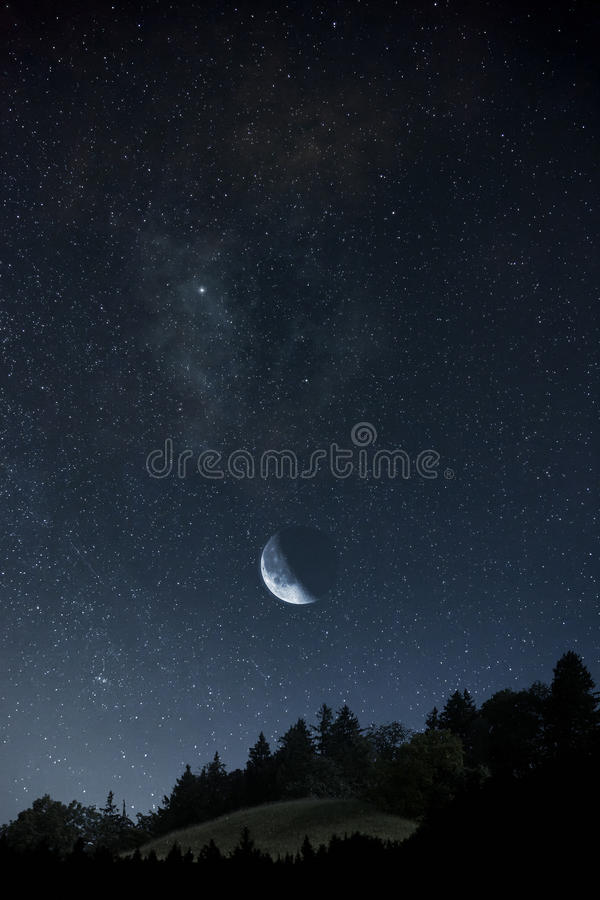 Moon and stars stock photos