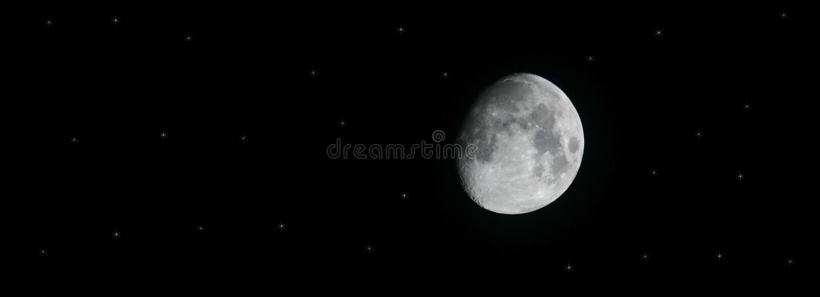 Download Moon and Stars stock photo. Image of background, quarter - 612628