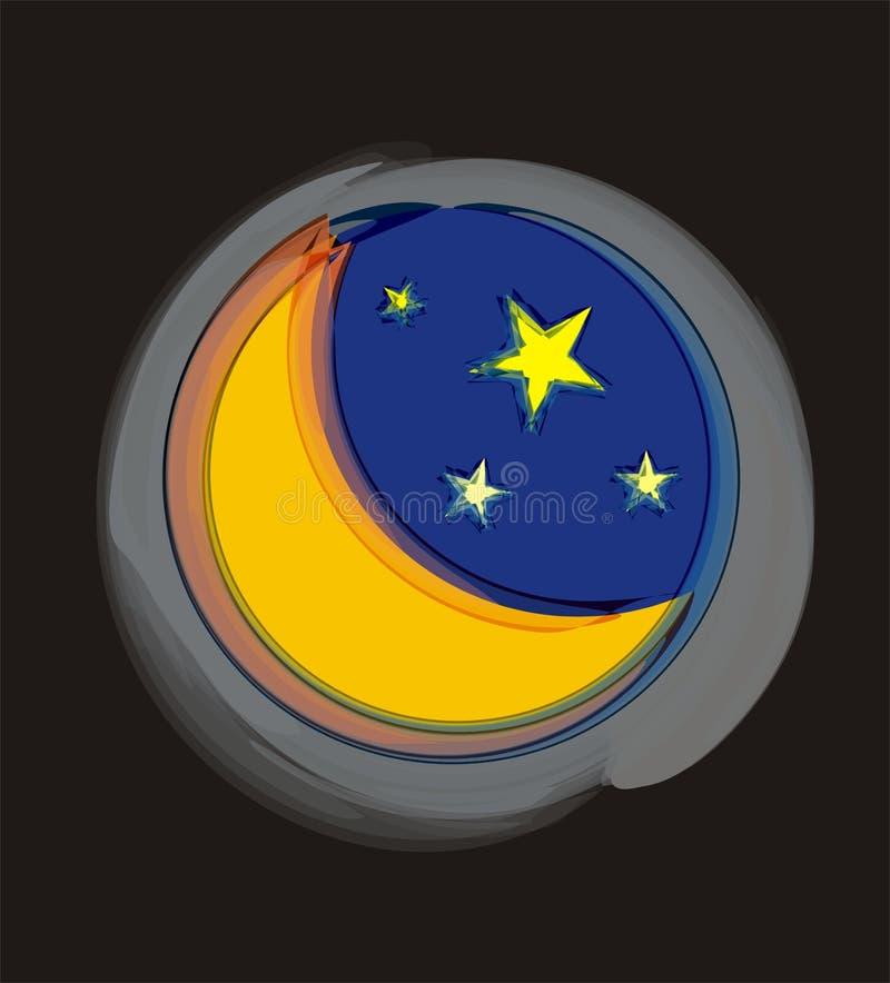 Moon and stars royalty free illustration