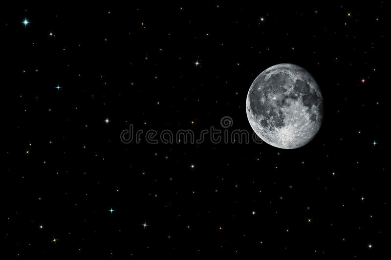 Moon and stars in black space royalty free stock photos