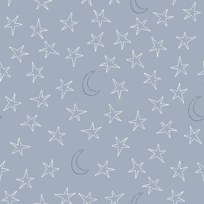 Moon and stars on blue vector seamless pattern royalty free illustration