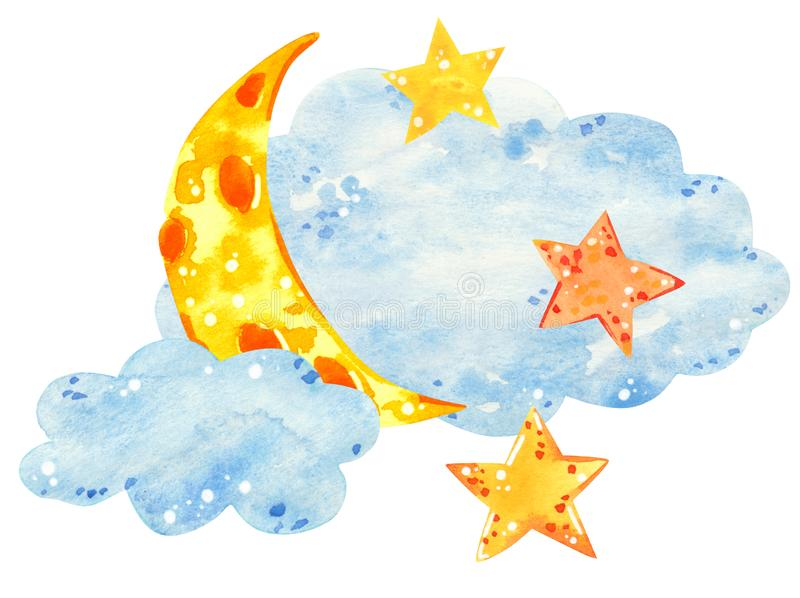 Moon and stars in clouds, hand drawn watercolor illustration royalty free stock photo