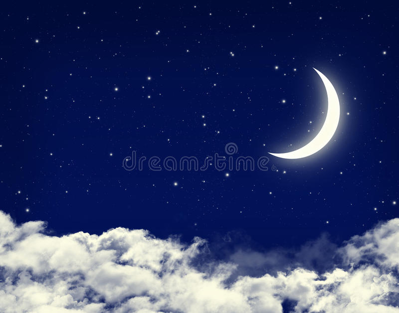 Moon and stars in a cloudy night blue sky stock illustration
