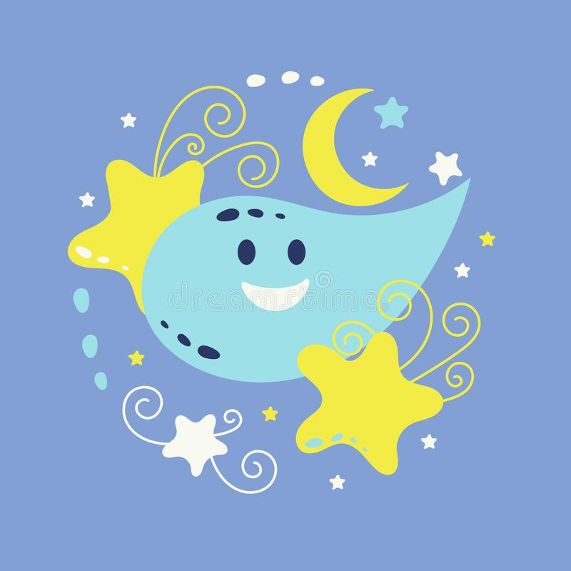 Moon and stars, cute doodle vector illustration
