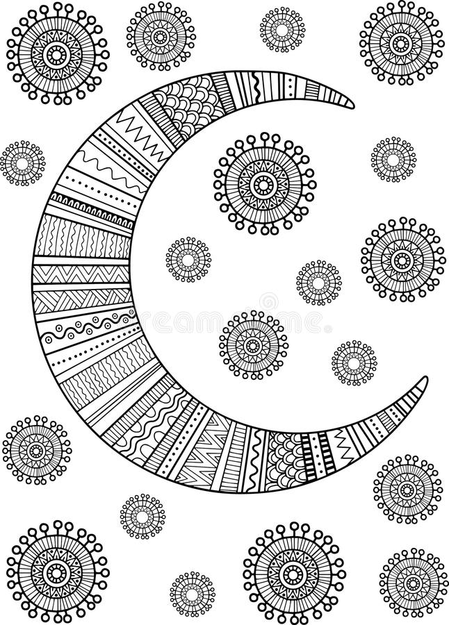 The Moon And Stars. Doodle Elements. Coloring Book For Adult And ...
