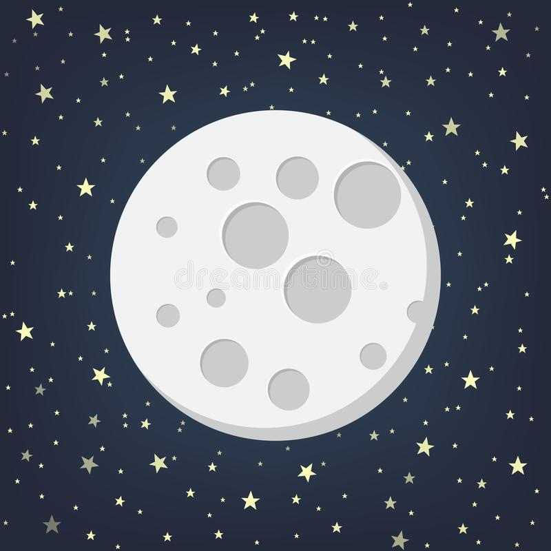 Moon with Stars in flat dasign style. Vector illustration. vector illustration