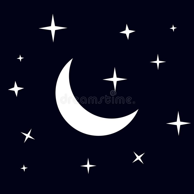 Moon and stars icon. Vector isolated on dark background. EPS 10 royalty free illustration