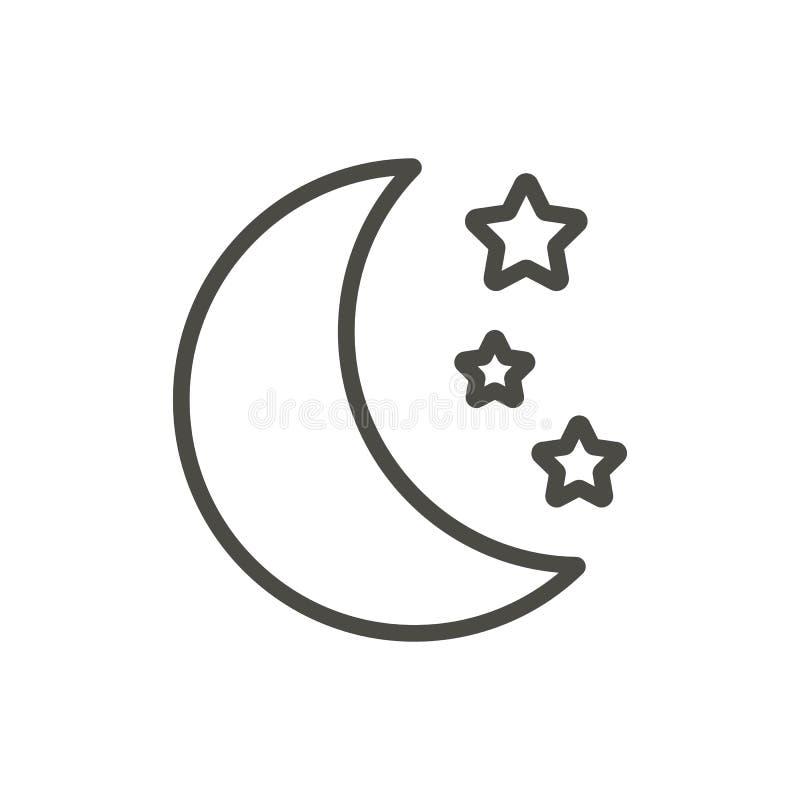 Moon And Stars Icon Vector Line Moonlight Symbol Stock Vector