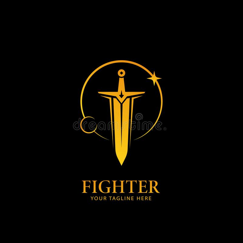 Moon and Stars light sword logo, warrior fighter logo icon symbol in golden color with black background. Big sword logo, sword of fighter knight in gold color vector illustration