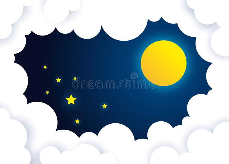 moon and stars in midnight .cloud at nighttime stock photos