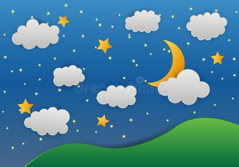 Moon and stars in midnight mountain .paper art style vector illustration