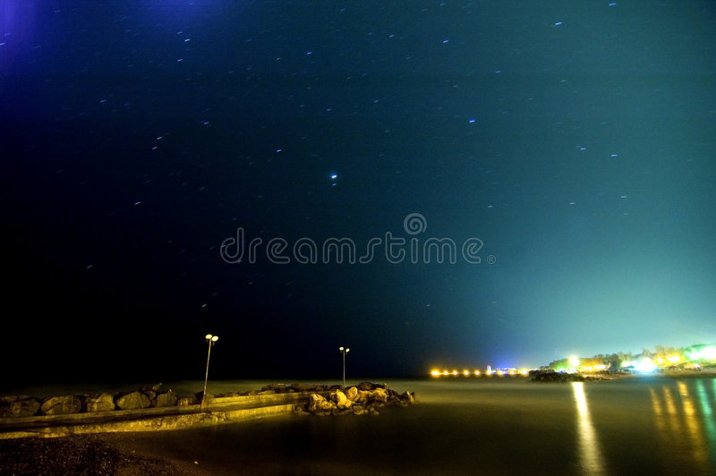 Moon And Stars Over Olimp Resort royalty free stock image