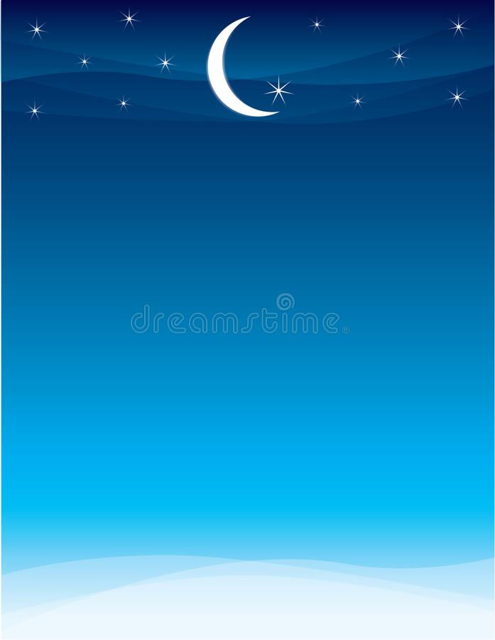 Moon and Stars Ramadan Skyline. Ramadan Skyline Postcard Flyer Background Template Poster Flyer Invitation Horizontal stock illustration